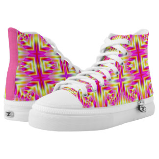 Pink and Yellow Rave Wallpaper High Tops