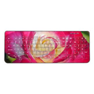 Pink and yellow rose wireless keyboard