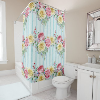 Pink And Yellow Roses Blue Stripes Shower Curtain