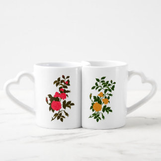 Pink and Yellow Roses Coffee Mug Set