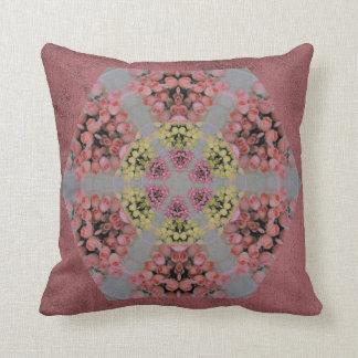 Pink and yellow roses kaleidoscope pattern cushion