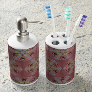 Pink and yellow roses kaleidoscope pattern soap dispenser and toothbrush holder