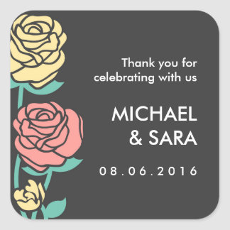 Pink and Yellow Roses Wedding Sticker
