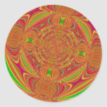 Pink and Yellow Swirls Digital Art Round Stickers
