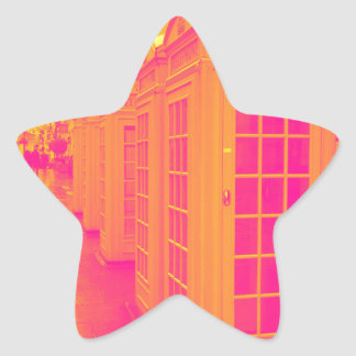 Pink and yellow telephone boxes star sticker
