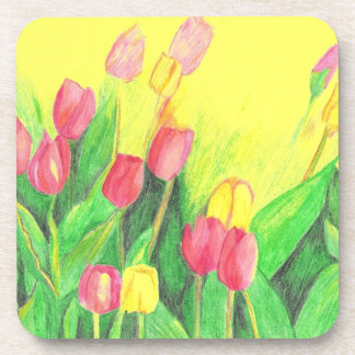 Pink and Yellow Tulips Beverage Coasters