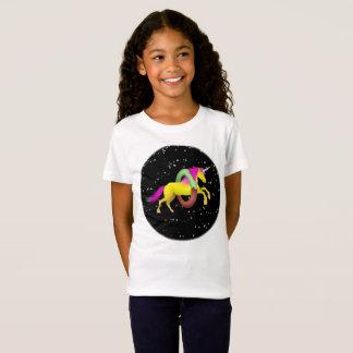 Pink and Yellow Unicorn Jumping Through a Doughnut T-Shirt