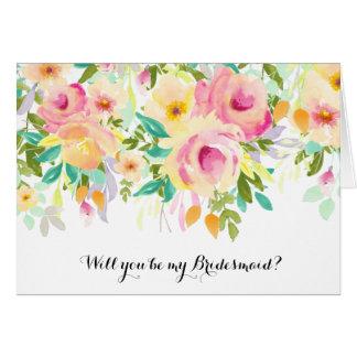 Pink and Yellow Watercolor Floral Bridesmaid Greeting Card