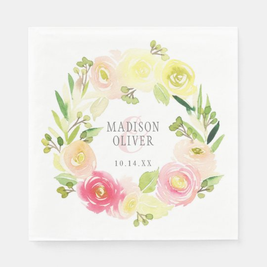 Pink and Yellow Watercolor Floral Wreath | Wedding Paper Napkins