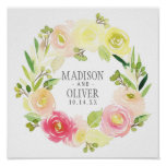 Pink and Yellow Watercolor Floral Wreath | Wedding Poster
