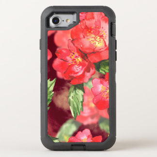 Pink and Yellow Watercolor Roses With Greens OtterBox Defender iPhone 7 Case