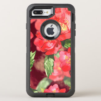 Pink and Yellow Watercolor Roses With Greens OtterBox Defender iPhone 7 Plus Case
