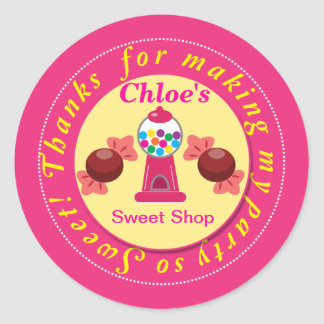 Pink and Yellow Whimsical Gumball Party Sticker