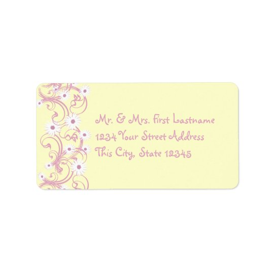 Pink and Yellow with Daisies Label