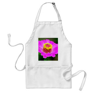 Pink and Yellow Zinnia Flower Adult Apron