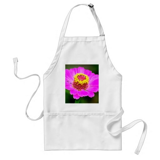 Pink and Yellow Zinnia Flower Apron