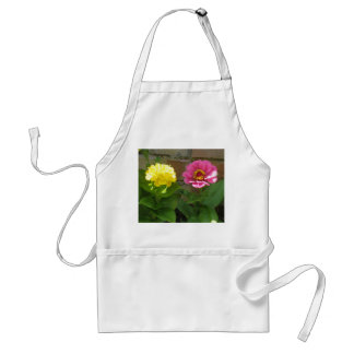 Pink and Yellow Zinnias Apron