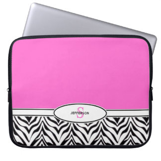 Pink and Zebra Laptop Laptop Sleeve
