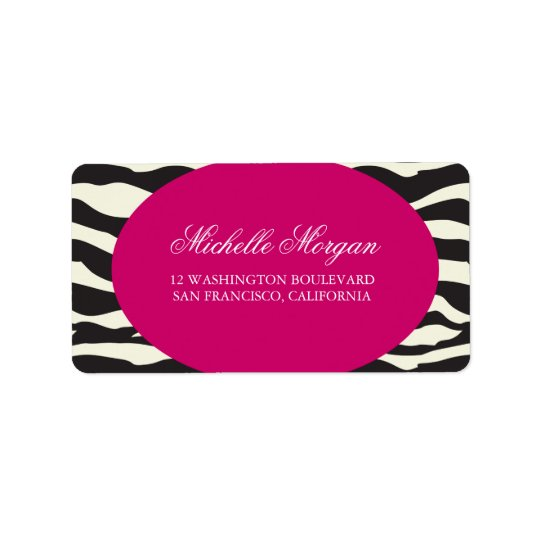 Pink and Zebra Stripes Custom Label Address Label