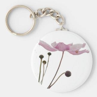 Pink Anemone Blossom Keychains
