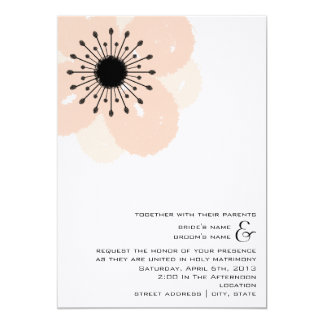 Pink Anemone Wedding Invite: Together With Parents 13 Cm X 18 Cm Invitation Card