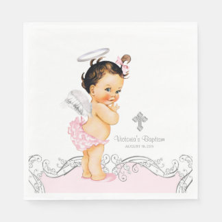 Pink Angel Baby Girl Baptism Christening Disposable Serviette