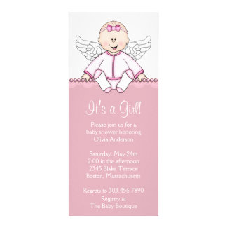 Pink Angel Baby Girl Shower Announcements