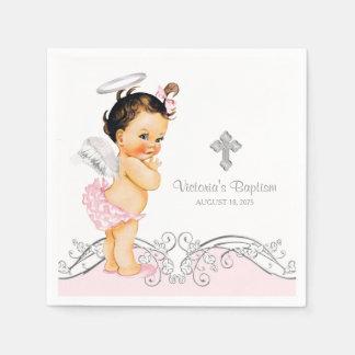 Pink Angel Girl Baptism Christening Disposable Serviette