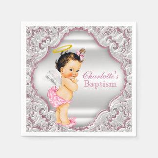 Pink Angel Girl Baptism Disposable Napkins