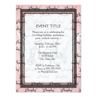 Pink Angels Background with Wings and Halo 17 Cm X 22 Cm Invitation Card