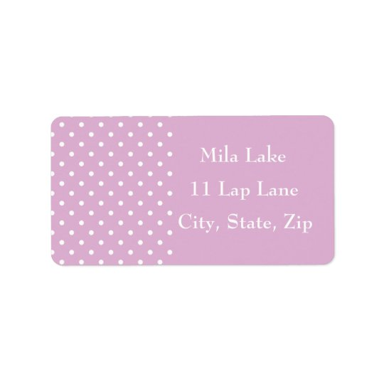 Pink Angora Polka Dot Custom Address Labels