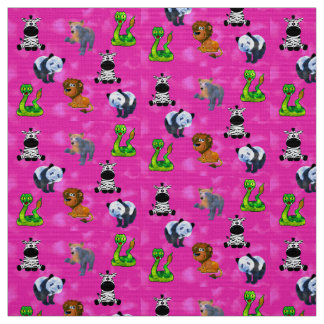 Pink Animal Convention Fabric