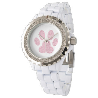 pink animal lover paw print watches