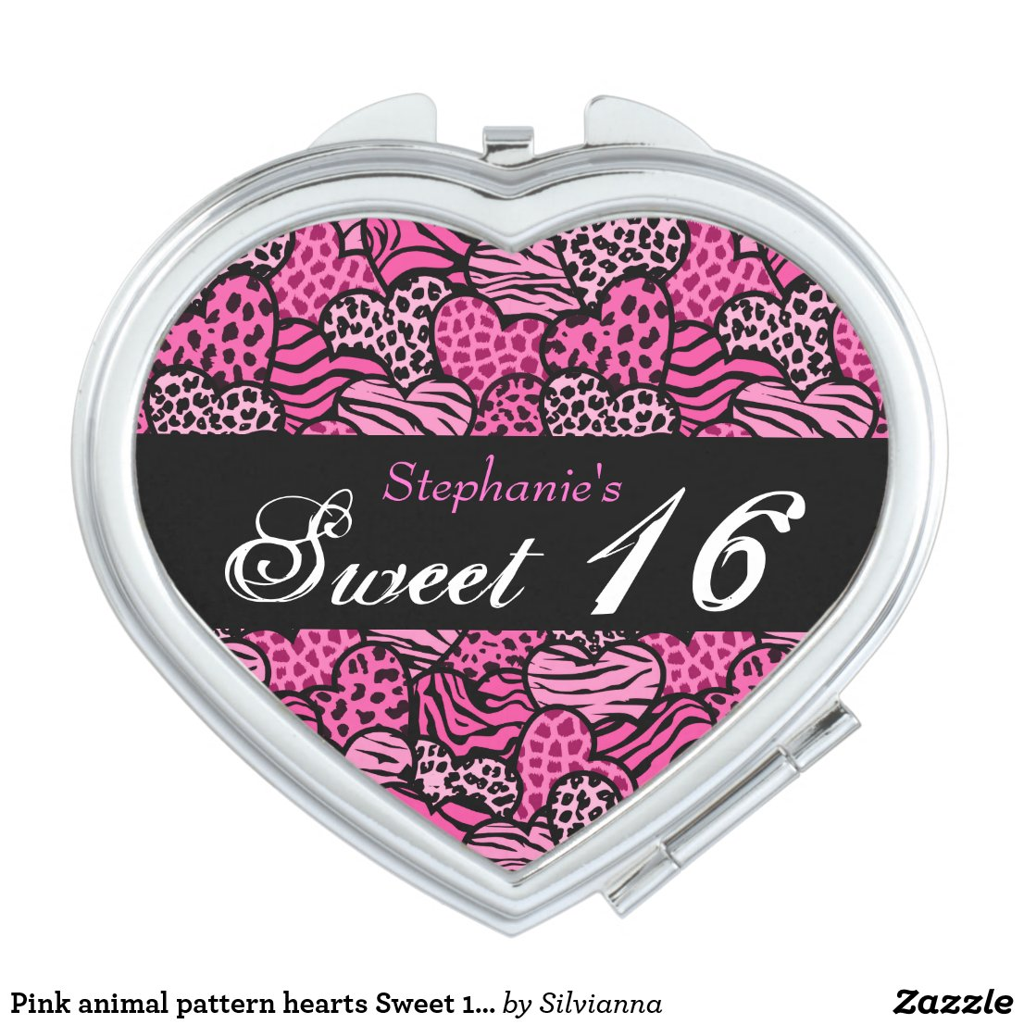 Pink animal pattern hearts Sweet 16 Mirror