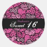 Pink animal pattern hearts Sweet 16 sticker