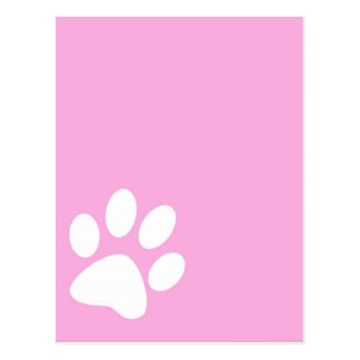 pink animal pet paw print postcard