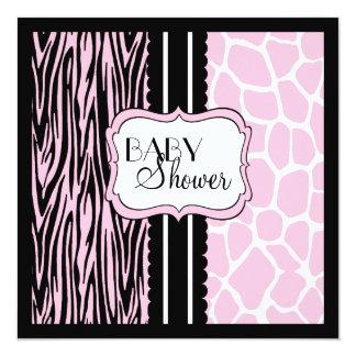 Pink Animal Print-Baby Shower 13 Cm X 13 Cm Square Invitation Card