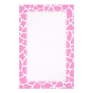 Pink Animal Print Giraffe Pattern Stationery