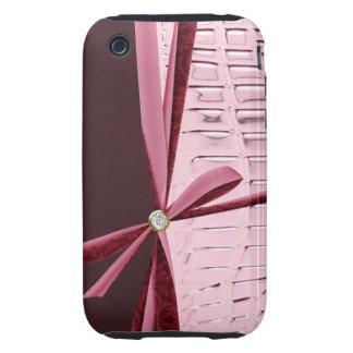 Pink Animal Skin Print Rhinestone Bow iPhone Case Tough iPhone 3 Cases