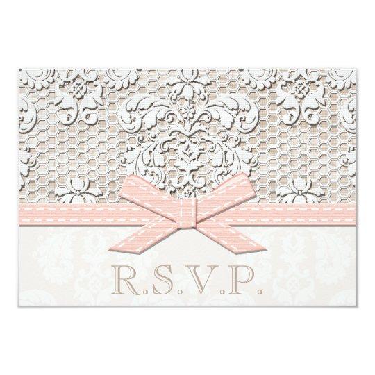Pink Antique Lace RSVP Wedding Response Cards