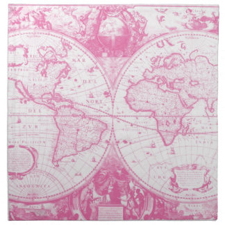 Pink Antique Map of the World Napkin