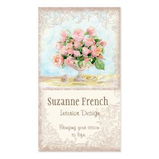 Pink Antique Vintage Elegant Lavish French Roses Double-Sided Standard Business Cards (Pack Of 100)