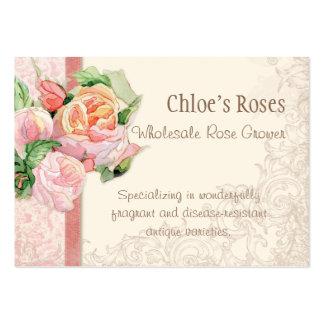Pink Antique Vintage Elegant Lavish French Roses Business Cards