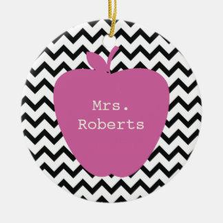 Pink Apple Black Chevron Teacher Christmas Ornament