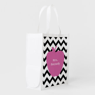 Pink Apple Black Chevron Teacher Reusable Grocery Bag