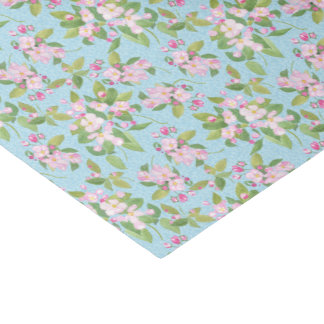 Pink Apple Blossom Floral Pattern on Sky Blue Tissue Paper