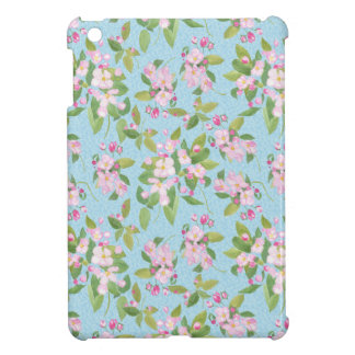 Pink Apple Blossom on Sky Blue Leafy Background Cover For The iPad Mini