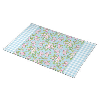 Pink Apple Blossom Pattern with Blue White Gingham Placemat