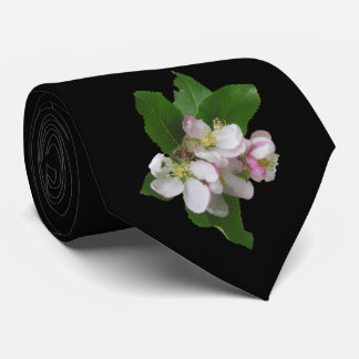 Pink Apple Blossoms on Black Tie