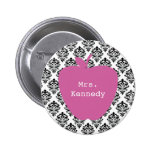 Pink Apple Damask Teacher 6 Cm Round Badge
